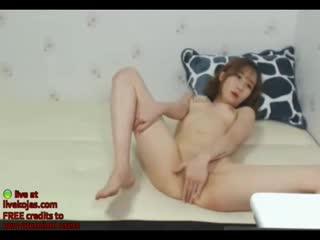 Korean small camgirl masturbates